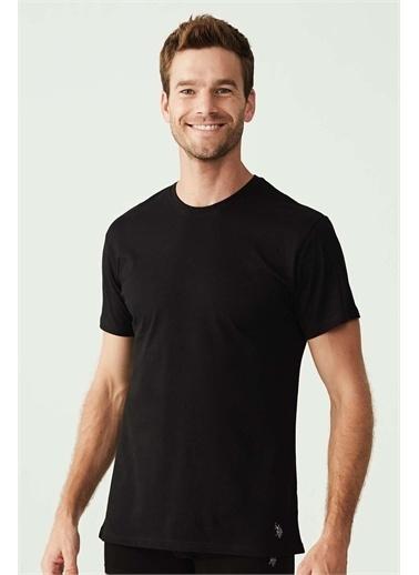 U.S. Polo Assn. U.S. Polo Assn. Erkek Siyah Yuvarlak Yaka Pamuk T-shirt Siyah
